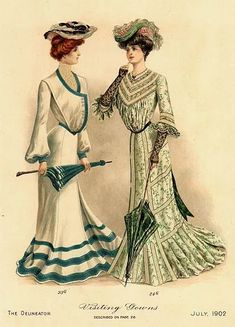 """""""Beatrice, your seaside ensemble is smashing, but don't you think wearing that giant oyster on your head takes it a bit far?"""" The Delineator July 1902 1900s Fashion, Edwardian Fashion, Vintage Fashion, Edwardian Clothing, Edwardian Era, Historical Costume, Historical Clothing, Belle Epoque, Graphic 45"""