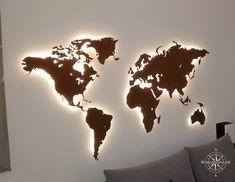 Kundenbeispiel Design Weltkarte aus Corten Stahl Asia Map, Map Wallpaper, Montage, Design, Brickwork, World Wide Map, Stencils, Hang In There, Steel