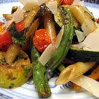 No-cream pasta primavera. Healthy and delicious roasted veggies tossed with penne, balsamic vinegar, lemon, and Italian seasoning. Enjoy hot or cold, makes a great lunch.