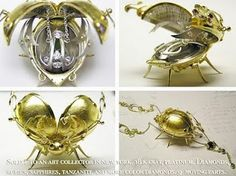 Steampunk Gold Beetle Necklace