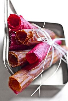 Skip store-bought fruit leather, and use leftover juice pulp to make your own (raw, vegan).