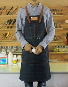 Black/Dark Blue Denim Apron with Leather Straps. Suitable for Uniforms of Barber,Barista,Bartender,Stylist,Waiter/Waitress,Florist,Painter,Gardener, or Work ware of Tattoo shop,Craft workshop etc.