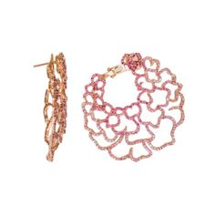 Piranesi Jewelry 18K Rose Gold Pink Sapphire Hoop Earrings (=)