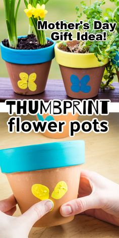Make these Thumbprint Flower Pots. Cute thumbprint butterflies on terracotta flower pots are an easy spring craft. Even young kids can make this cute decorative flower pot! Toddler Arts And Crafts, Spring Crafts For Kids, Diy Projects For Kids, Crafts For Kids To Make, Kids Diy, Mothers Day Plants, Mothers Day Flower Pot, Easy Mother's Day Crafts, Kid Crafts
