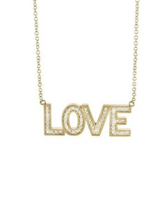 Jennifer Meyer - Diamond LOVE Necklace - Yellow Gold