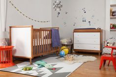 Babyletto Skip Chestnut and White Convertible Crib with Toddler Rail - Overstock™ Shopping - Great Deals on Babyletto Cribs Crib Sets, Crib Bedding Sets, Crib Mattress, Kohls Bedding, Diy Toddler Bed, Grey Crib, Kids Dressers, Convertible Crib, Baby Furniture