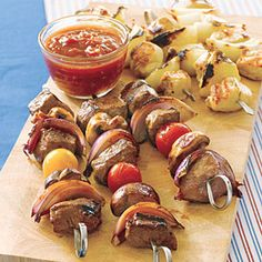chicken and onion kebabs. looks and sounds delish, i just dont have an easy way to cook the kebabs.