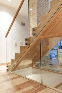 Lyndale Street House Staircase and Hand railing - modern - staircase - other metros - Wood Anchor Glass Stairs Design, Staircase Railing Design, Timber Staircase, House Staircase, Door Gate Design, Wooden Staircases, Brick Design, Hand Railing, Railing Ideas