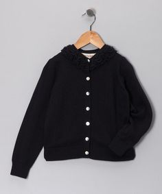 Take a look at this French Navy Bella Ruffle Cardigan - Toddler & Girls on zulily today!
