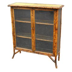 1stdibs | Bamboo Bookcase with Glass Doors
