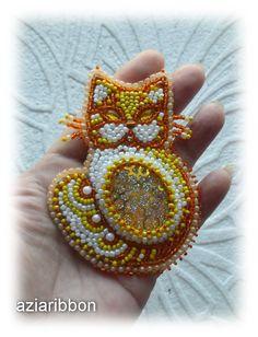 Солнечный кот. | biser.info - всё о бисере и бисерном творчестве
