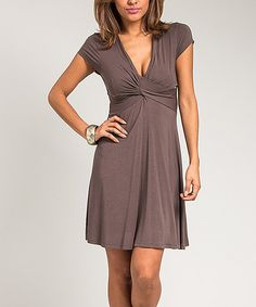 Look at this Mocha Twist V-Neck Dress on #zulily today!