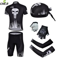 (44.56$)  Watch now - http://aishi.worlditems.win/all/product.php?id=32622506537 - CHEJI Riding Bike Bicycle Jersey &Pirate Hat&Cycling Gloves&Bike Arm Sleeve Cover ciclismo Suit Black Skull