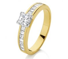 This ring makes a bold statement with the contrasting princess and baguette cut diamonds cascading down the shoulders. The centre diamond is a Canadian Fire princess cut diamond and there is a total of of diamonds set in yellow and white gold Thing 1, Princess Cut Diamonds, Baguette, Diamond Engagement Rings, Centre, White Gold, Fire, Jewels, Yellow