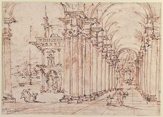 Architectural Capriccio: Vaulted Colonnade of a Palace Francesco Guardi  (Italian, Venice 1712–1793 Venice) Date: 1712–93 Pen and brown ink, over red chalk