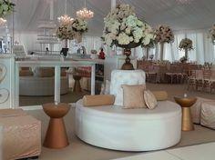 White leather bourne/ circular sofa