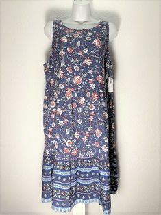 1351930ac868 OLD NAVY Women s Casual Scoop Blue Flowers Summer Boho Rayon Dress Size L  NEW  OldNavy