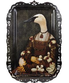 Bianca goose and goslings tray from the Ibride collection.     Tray featuring a surreal goose and goslings portrait painting in a traditional style, with ornate laser cut edging. Designed as a decorative wall hanging by Rachel Convers, 2008.