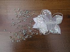 Wedding Brides Hair Comb White Sequins Flower Comb by rrdesigns561
