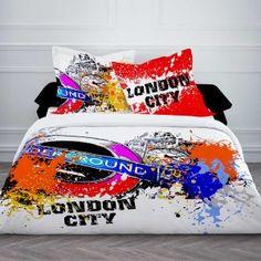 Housse de couette LONDON CITY PAINT 220 x 240 en coton