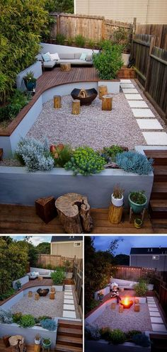 This modern landscaped backyard has a raised outdoor lounge deck, a wood burning firepit, succulents, bamboo and a vegetable garden. #landscapingbackyard