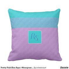 Pretty Pink Blue Aqua >Monogram Pillow