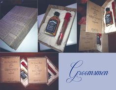 "Mitchell's groomsmen gifts :) love the message but add mre like more alcohol, shaving kit, man card ""bottle opener"""