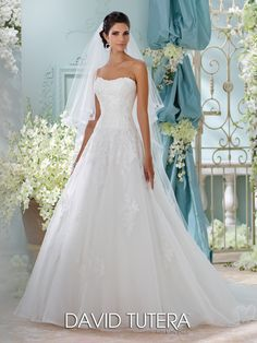 Style 116208, Alesea, is a Spring 2016 Strapless Wedding Dress from the David Tutera for Mon Cheri Collection. Click for more information on this style.