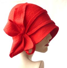 Felt hat Felt hats Cloche Felted Hat felt hat Cloche Hat Flapper Hat Art Hat Red Hat La belle epoque Art Deco 1920s hat Art Hats red hat cloche 1920s hat Hats&Caps Accessories Handmade   Great, very flattering hat ! Adapts to the head !  Special and unique ! Sophisticated and elegant !   On order I can make a hat in a different size and color. As the base for my works I use great materials like highest quality Australian merino wool (18 micro).  All my works are made by hand in single copies…