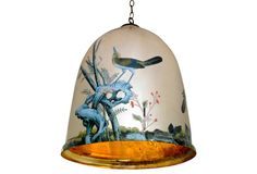 "18"" Bell Jar Pendant w/ Birds"