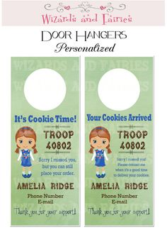 Girl Scout cookie sale idea!  Personalized DOOR HANGERS.  Increase your sales & coordinate drop off/ pick-up of cookies.  PRINT FROM HOME