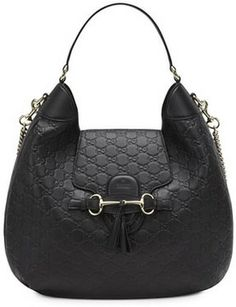 Gucci Emily Guccissima Leather Hobo Bag, Black on shopstyle.com