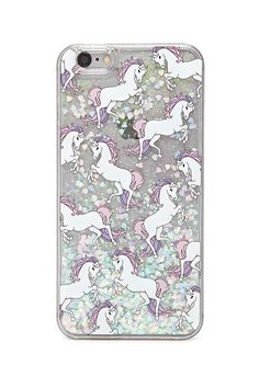A clear hard shell case for the iPhone 6 Plus&reg and iPhone 6SPlus&reg featuring an allover unicorn and glitter confetti design.