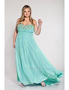 Plus size strapless chiffon gown with sequined bod by Sydney's Closet