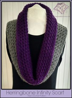 Herringbone Infinity Scarf Free Crochet Pattern - The Purple Poncho