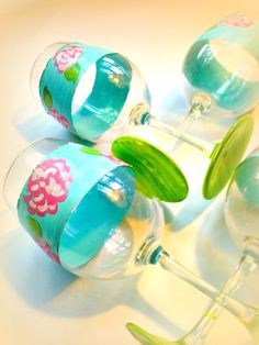 hand painted Lilly wine glasses
