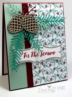 Stampin' Up! Christmas Pines for the Creating Pretty Cards . Stamped Christmas Cards, Christmas Card Crafts, Stampin Up Christmas, Christmas Cards To Make, Christmas Projects, Holiday Cards, Christmas 2016, Poinsettia Cards, Scrapbook Cards