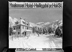 Hotel, Haakonsæt Hotel, nowadays a Bed and Breakfast, in Hovet, Hallingdal, Norway, tagged as måleri, plakat, vinter, arkitektur, in digitalt museum, Norway.