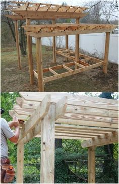 20 DIY Pergolas With Free Plans That You Can Make This Weekend #diy #pergola #plans #backyard #rustic #woodworking ...d infill. The infill is what spans between the beams to give shade.Building a pergola is not difficult but as with any home-improvement project plan... not difficult but as with any home-improvement project planning is essential. If you wish to construct a pergola but need some help coming up with #diy.diypergoladesigns.com #landscape-pergola-plans #pergolas Deck Pergola, Building A Pergola, Pergola Ideas, Pergola Shade, Metal Pergola, Cheap Pergola, Patio Roof, Patio Ideas, Pergola Curtains