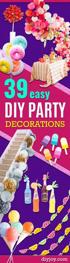Easy DIY Party Decorations - Quick And Cheap Party Decors, Easy Ideas For DIY Party Decor, Birthday Decorations, Budget Do It Yourself Party Decorations Cheap Party Decorations, Diy Birthday Decorations, Birthday Diy, Birthday Ideas, Birthday Freebies, Birthday Recipes, Birthday Parties, Deco Table, Diy For Girls