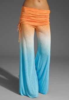 I would love to lounge around in these this summer......  Sierra Sunset Ombre Pant in Sky to Orange by YOUNG, FABULOUS & BROKE