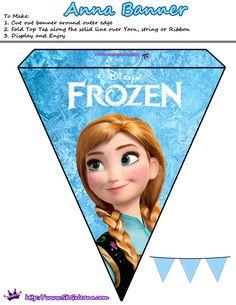 Plantilla guirnalda banderin Frozen Disney