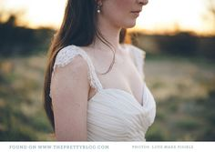 Wedding dress with lace shoulder detail | Designer: Robyn Roberts, Photo: Love made visible
