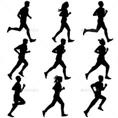 Set Of Silhouettes. Runners On Sprint, Men. Vector - People Characters