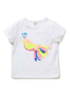 100% Cotton Tee. Features bird print on front with applique lazercut feathers.