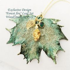 Real Leaves Jewelry, Emerald Forest, Maple Leaf Pine Cone, Crystal, custom initial charm by Natures leaves