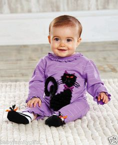 Mud Pie Baby Girl Halloween Trick Or Treat Black Cat Applique One Piece  $26.99 Sold at Baby Family Gifts Ebay