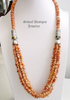 Schaef Designs orange spiny oyster shell and sterling silver tube bead multi strand LONG necklace | Schaef Designs Southwestern Basics Collcetion