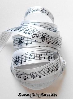 Sheet Music Ribbon ~ Ribbon with Musical notes~ 2 Yards ~  7/8 inches wide  ~ Music, Notes, Crafts, Band, School Ribbon ~ White Satin