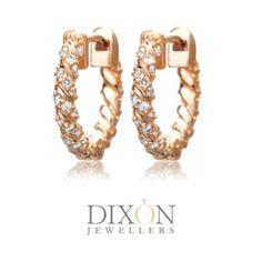 Twisted Diamond Hoops in Rose Gold Diamond Jewelry, Gold Jewelry, Diamond Earrings, Jewellery, Portfolio Design, Custom Jewelry, Custom Design, Rose Gold, Brooch